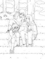 On the stairs-lineart by neji-hinata