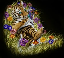 Tiger Cub, Flowers, Butterfly by RandyS01