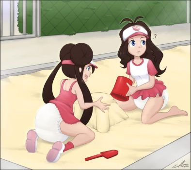 Hilda and Rosa playing in a sandbox by The-Padded-Room