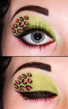 Green and pink leopard eyeshadow by Creativemakeup