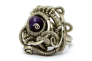 Steampunk Ring with Amethyst stone by hyppiechic