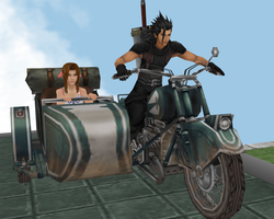 Zack giving Aerith A ride by IntenseObservation