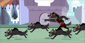 Fear Fang's Hyenas Go Forth Through Canterlot by Zacharygoblin55