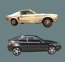 VW CORRADO and MUSTANG by bmansnuggles