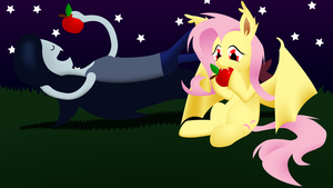 Fluttervamp and Marcelene enjoy some apples by beasert