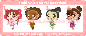 Fruiti Chibis for Adoption -ONE MORE LEFT!- by Crystal-Moore