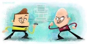 Kirk Vs Picard by xanderthurteen