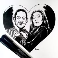 Inktober Day 29 - Gomez and Morticia Addams by D-MAC