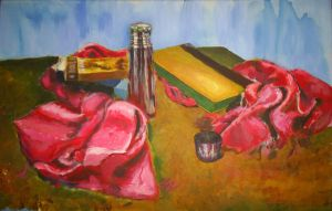 Still life with red scarf by mushroomline