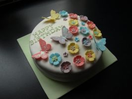 Flower and Butterfly Cake by sparks1992