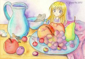 Still Life with Cherry and her Pets by Yenni-Vu