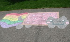 Nyan Cat Chalk by ninjaXofXtheXnight