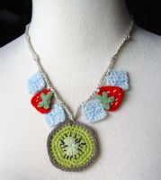 Kiwi Strawberry Necklace by meekssandygirl