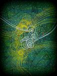 oldpaintingrevisited abstract green w spiral by santosam81