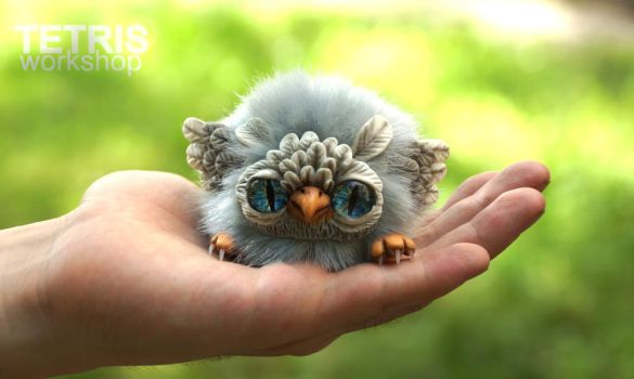 Owl ball toy on the hand by KrafiCat