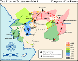 The Atlas of Beleriand - Map 8 by Airyyn