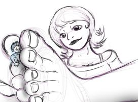 Playing with her feet by Kinkstuck