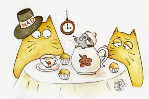 Mad Cat tea party by Maria-van-Bruggen