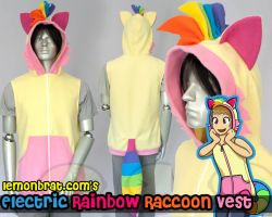 Electric Rainbow Raccoon Hoodie by lemonbrat