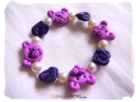 Purple Rose Teddy Bear Bracelet by Cateaclysmic