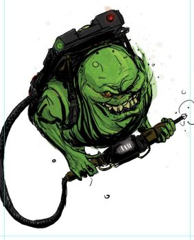 Slimer with pack by T-RexJones