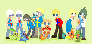SATW Nordic and their Pokemon by ABtheButterfly