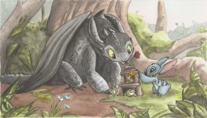 Toothless and Stitch Build a Froghouse by AmberStoneArt