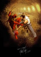 Wolverine vs Deadpool by sebadorn