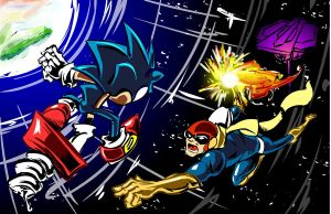 True Blue: Sonic vs Falcon by SkipperWing