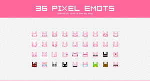 36 Pixel Emoticons of Rabbits by moyicat