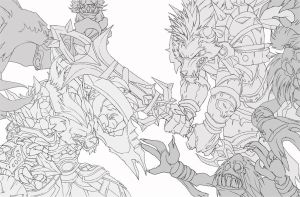 Worgen Vs Gnoll Lineart by Knockwurst
