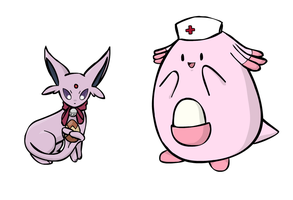 Espeon And Chansey by sunnyfish