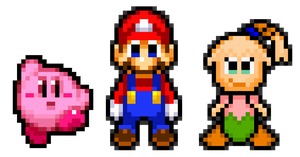 Mario, Kirby and Tiff 01 by KingAsylus91