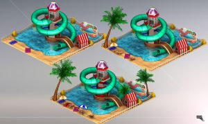 50s Beach. Attraction fire. 3d Game Art. by MarcMons007