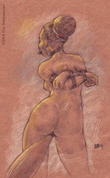Ponygirl-Sketch on brown paper by veterinarian