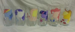the main 6 glass painting hand painted by LightningChaser