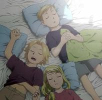 Ed, Winry and Al sleeping by lovefma