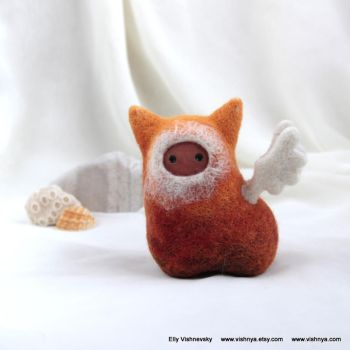 Needle felt Orange caramel Winged Spirit by vavaleff