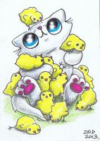 Funny cat covered in Easter chicks  ACEO by KingZoidLord