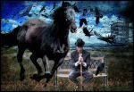 Black Crows With Black Horse by TheFantaSim