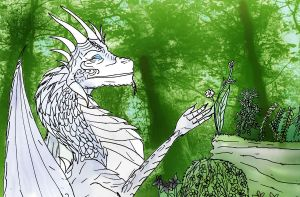 DH An Ice Dragon who loves his plants by Selinelle