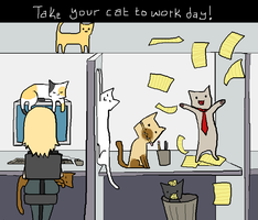 take your cat to workday color by sweet-pea-soup