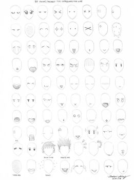 80 anime expressions by silentsketcher