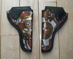 Steampunk .38 colt Leather Holsters by Jedi-With-Wings