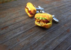 Hot Dog Cuff Links by SteamPixy