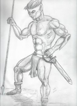 Elven Barbarian, Shaded. by mouseanderson