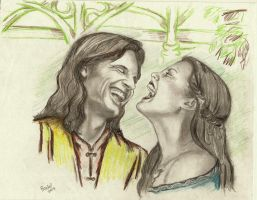 Aragorn and Arwen..Laughter by rstrider9