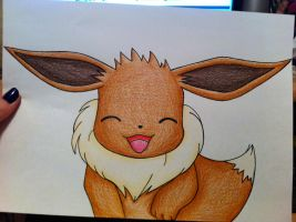 Happy Eevee Drawing-Pencils by sazmullium