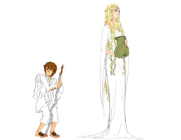 Bilbo and the Lady by laziemishee