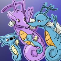 Kingdra Family by skeletall